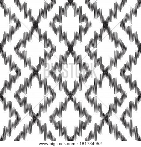 Vector illustration of black and white colored Ikat seamless pattern. Scribble textured.