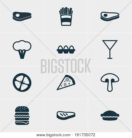Vector Illustration Of 12 Food Icons. Editable Pack Of Martini, Cotton, Pizzeria And Other Elements.