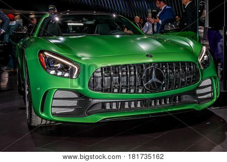 NEW YORK- APRIL 12: Mercedes- Benz AMG GT R shown at the New York International Auto Show 2017, at the Jacob Javits Center. This was Press Preview Day One of NYIAS, on April 12, 2017 in New York City.