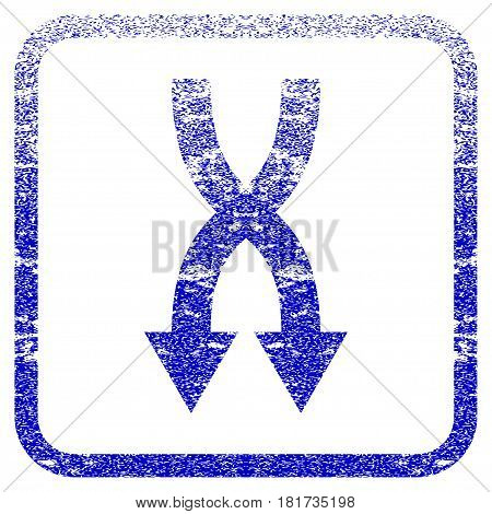 Shuffle Arrows Down textured icon for overlay watermark stamps. Blue vectorized texture. Flat vector symbol with unclean design inside rounded square frame. Framed blue rubber seal stamp imitation.