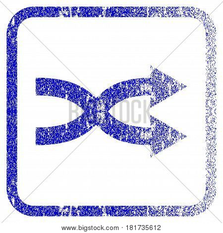 Shuffle Arrows Right textured icon for overlay watermark stamps. Blue vectorized texture. Flat vector symbol with unclean design inside rounded square frame. Framed blue rubber seal stamp imitation.
