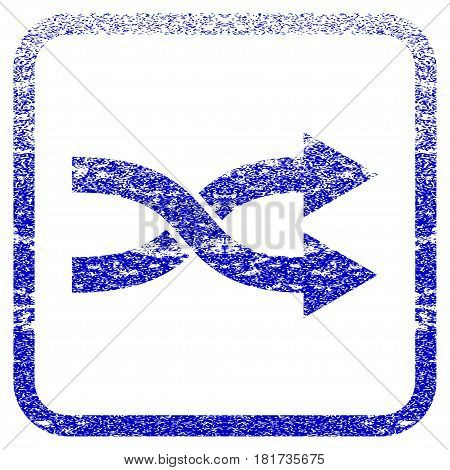 Shuffle Arrows Right textured icon for overlay watermark stamps. Blue vectorized texture. Flat vector symbol with dust design inside rounded square frame. Framed blue rubber seal stamp imitation.