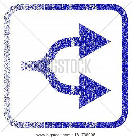 Split Arrows Right textured icon for overlay watermark stamps. Blue vectorized texture. Flat vector symbol with scratched design inside rounded square frame. Framed blue rubber seal stamp imitation.