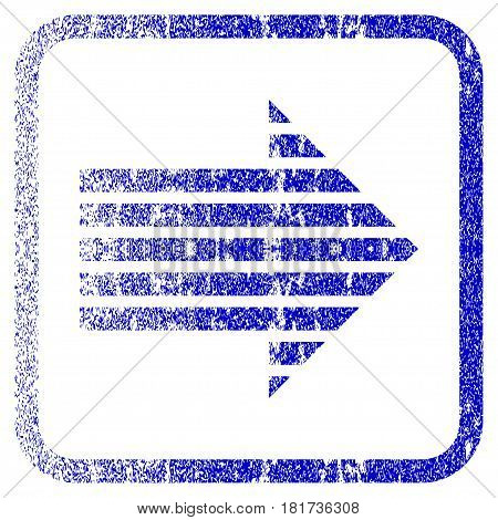 Stripe Arrow Right textured icon for overlay watermark stamps. Blue vectorized texture. Flat vector symbol with dirty design inside rounded square frame. Framed blue rubber seal stamp imitation.