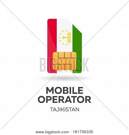 Tajikistan Mobile Operator. Sim Card With Flag. Vector Illustration.