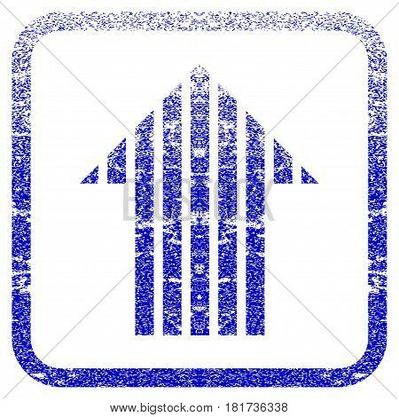 Stripe Arrow Up textured icon for overlay watermark stamps. Blue vectorized texture. Flat vector symbol with scratched design inside rounded square frame. Framed blue rubber seal stamp imitation.