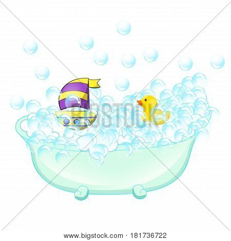 Retro Bathroom interior. soap bubbles. Bathtub with foam bubbles inside bath yellow rubber duck and boat on wall background. Bath time vintage style cartoon illustration