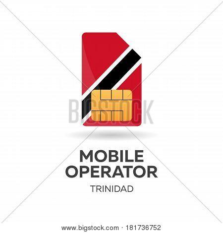 Trinidad Mobile Operator. Sim Card With Flag. Vector Illustration.