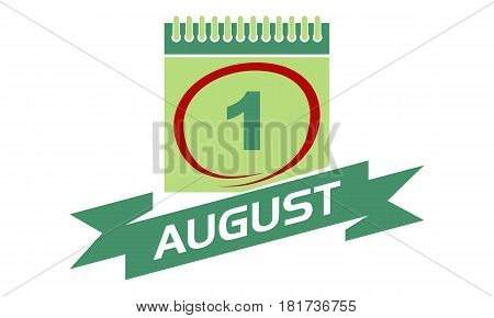 1 August Calendar with Ribbon Event Reminder