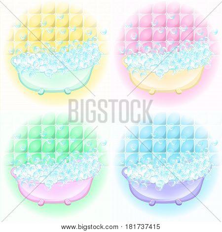 Retro Bathroom interior. soap bubbles. Bathtub with foam bubbles inside. Bath time vintage style cartoon illustration