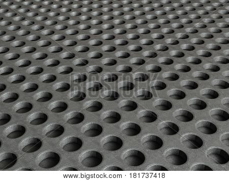Metal grid with round holes pattern background. 3D illustration.