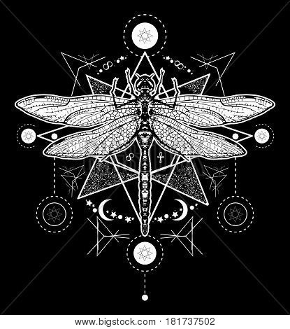 Dragonfly tattoo. Hand drawn mystical symbols and insects. Dragonfly tattoo sketch. Alchemy religion occultism spirituality dragonfly tattoo art coloring book