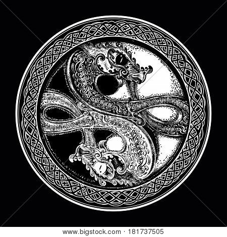 Two Dragons in the Celtic style tattoo. Black and white dragon in Yin yang t-shirt design. Meditation philosophy harmony symbol.