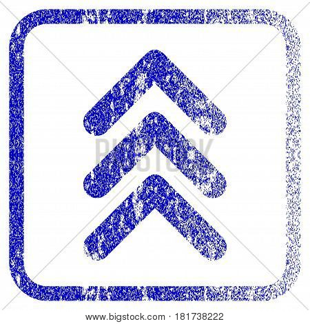 Triple Arrowhead Up textured icon for overlay watermark stamps. Blue vectorized texture. Flat vector symbol with dirty design inside rounded square frame. Framed blue rubber seal stamp imitation.