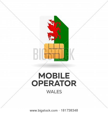 Wales Mobile Operator. Sim Card With Flag. Vector Illustration.