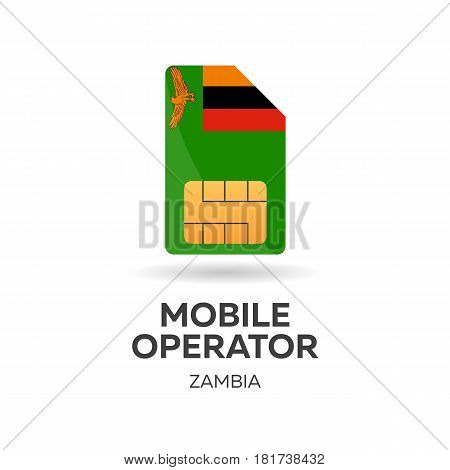Zambia Mobile Operator. Sim Card With Flag. Vector Illustration.