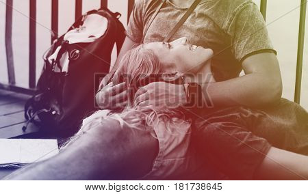 Photo Gradient Style with Boy Woman lying on boyfriend's lap traveling