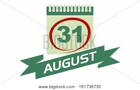31 August Calendar with Ribbon Event Reminder