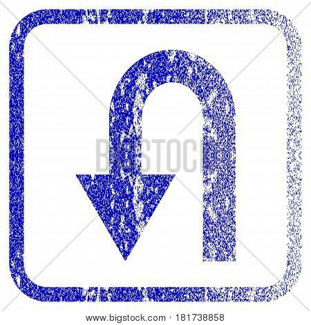 Turn Back textured icon for overlay watermark stamps. Blue vectorized texture. Flat vector symbol with unclean design inside rounded square frame. Framed blue rubber seal stamp imitation.