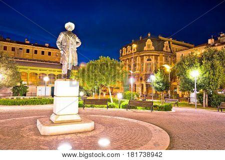 City Of Rijeka Square And Architecture Evening View