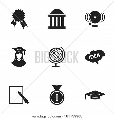 Set Of 9 Editable School Icons. Includes Symbols Such As Notepaper, First Place, Earth Planet And More. Can Be Used For Web, Mobile, UI And Infographic Design.