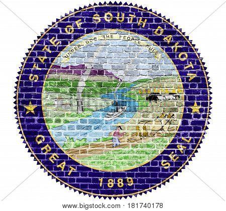 South Dakota Seal US flag painted on old vintage brick wall