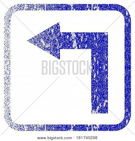 Turn Left textured icon for overlay watermark stamps. Blue vectorized texture. Flat vector symbol with dirty design inside rounded square frame. Framed blue rubber seal stamp imitation.