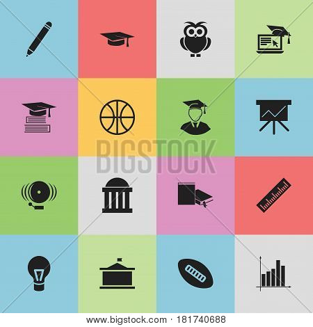 Set Of 16 Editable Education Icons. Includes Symbols Such As Lamp, Univercity, Graduation Hat And More. Can Be Used For Web, Mobile, UI And Infographic Design.