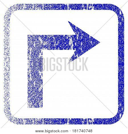 Turn Right textured icon for overlay watermark stamps. Blue vectorized texture. Flat vector symbol with dirty design inside rounded square frame. Framed blue rubber seal stamp imitation.