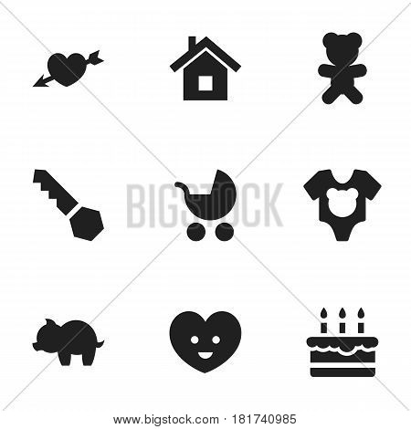 Set Of 9 Editable Kin Icons. Includes Symbols Such As Lock, Moneybox, Bodysuit And More. Can Be Used For Web, Mobile, UI And Infographic Design.