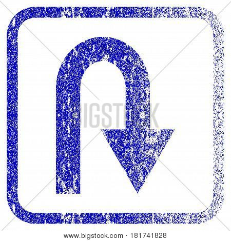 U Turn textured icon for overlay watermark stamps. Blue vectorized texture. Flat vector symbol with dirty design inside rounded square frame. Framed blue rubber seal stamp imitation.