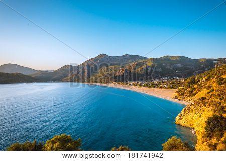 Sunset view to Oludeniz lagoon beach landscape Fethiye Turkey