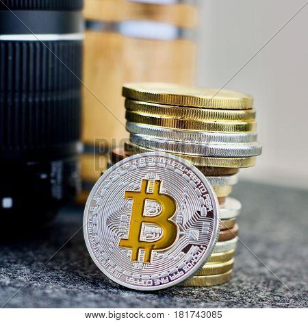 Silver Bitcoin Coin Money Concept