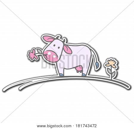 Cartoon cow with flower on a white background