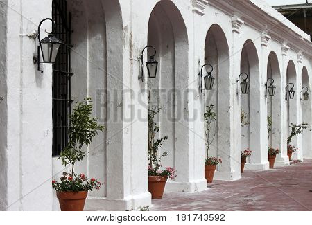 Argentina Buenos Aires. Rhythm of white arcs with flowers and street lamps horizontal view