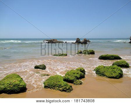Portugal Algarve Portimao. Green stones on the sand near sea on the blue sky background horizontal view