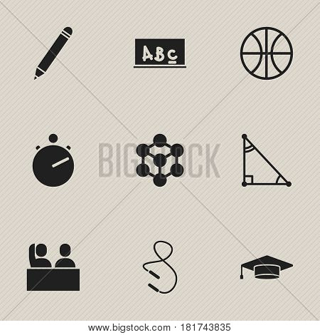 Set Of 9 Editable School Icons. Includes Symbols Such As Chronometer, Basket Play, Student And More. Can Be Used For Web, Mobile, UI And Infographic Design.