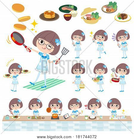 Pop Idol In Blue Costume Cooking
