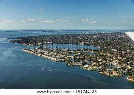 Aerial view of Coquina Key in St. Petersburg Florida Landing at the airport in St. Petersburg