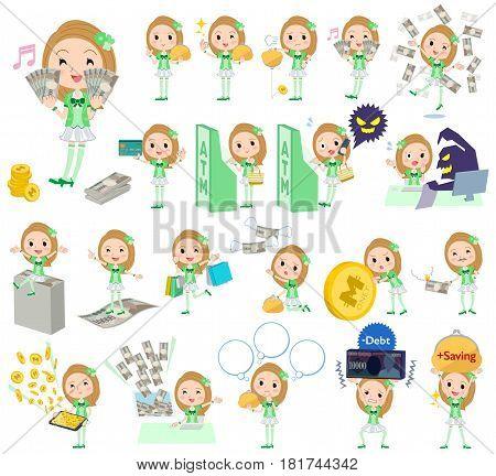 Pop Idol In Green Costume Money