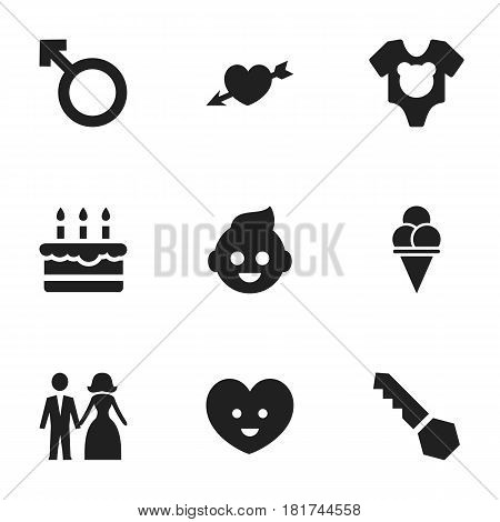 Set Of 9 Editable Relatives Icons. Includes Symbols Such As Love, Man Emblem, Cold Dessert And More. Can Be Used For Web, Mobile, UI And Infographic Design.