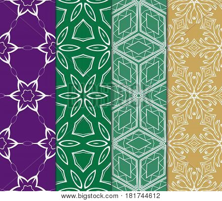 set of decorative floral, geometric ornament. modern pattern. seamless vector illustration. for interior design, textile, wallpaper