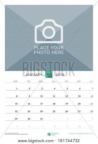 January 2018. Wall Monthly Calendar For 2018 Year. Vector Design Print Template With Place For Photo