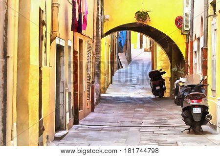Colorful painting of street in old town, French Riviera, France