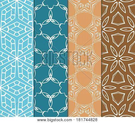set of decorative geometric, floral seamless pattern. Vector illustration. for design invitation, background, wallpaper, fabric, decor
