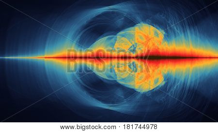 Colorful abstract illustartion looks like space planets motion and wave radiance