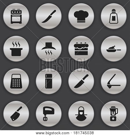 Set Of 16 Editable Food Icons. Includes Symbols Such As Crusher, Sword, Kitchen Hood And More. Can Be Used For Web, Mobile, UI And Infographic Design.