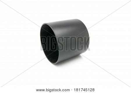 Close up lens hood on white background