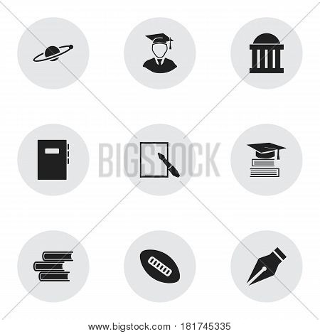 Set Of 9 Editable University Icons. Includes Symbols Such As Astrology, Nib, Workbook And More. Can Be Used For Web, Mobile, UI And Infographic Design.