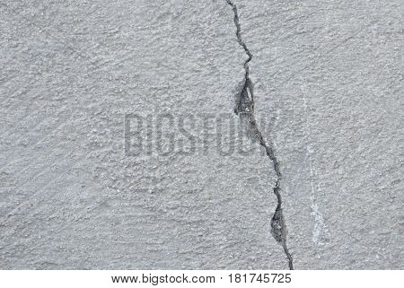 crack on cement footpath texture and background